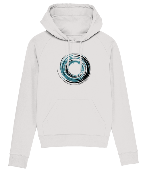 Banshy-clothes from the sea- ocean- white hoodie-85% Organic ring-spun combed cotton, 15% recycled polyester-swirl of water