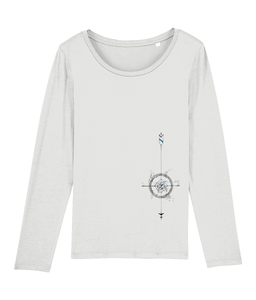 Banshy, t-shirt long sleeves white, 100%organic cotton, Compass,Sea, Fish,Bubbles,Divewear,Diver