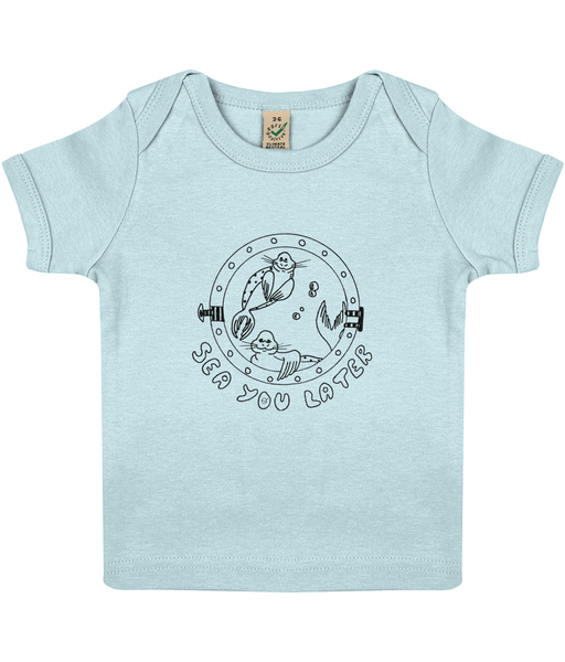 Seals, sea you later! - Clothing - 3-6 months / Soft Blue - 100% cotton - Banshy