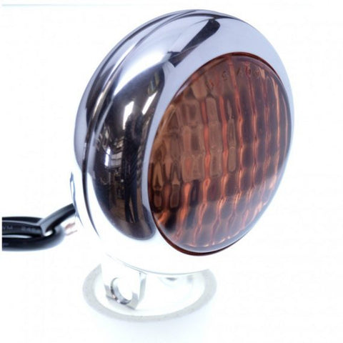 SPEED DEALER CUSTOMS CHOPPER BOBBER HEADLIGHT 3 LED CUSTOM BILLET MACHINED–CHROME WITH AMBER LENS