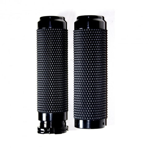 SPEED DEALER CUSTOMS 1 inch  BLACK ANODIZED RUBBER GRIPS