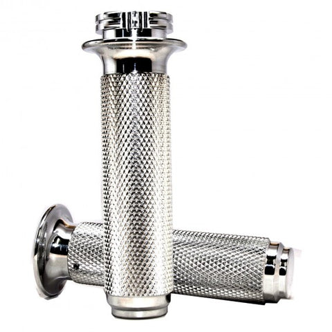 Speed Dealer Customs Moto Style Quick Throttle Grips Polished Aluminum 7/8″