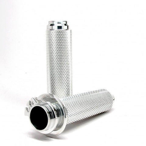 SPEED DEALER CUSTOMS 1 inch  TRIUMPH BONNEVILLE CHROME KNURLED GRIPS