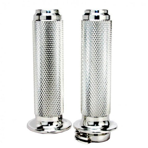 "SPEED DEALER CUSTOMS HARLEY GRIPS 7/8""MOTO STYLE POLISHED ALUMINUM"