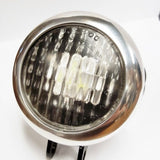SPEED DEALER CUSTOMS CHOPPER BOBBER HEADLIGHT 3 LED CUSTOM BILLET MACHINED-POLISHED & BLACK WITH CLEAR LENS