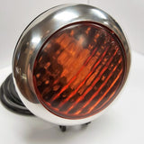 SPEED DEALER CUSTOMS CHOPPER BOBBER HEADLIGHT 3 LED CUSTOM BILLET MACHINED-POLISHED & BLACK WITH AMBER LENS