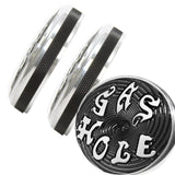 Bayonet Shovelhead Gas Cap Set Accent Machined Gas Hole Lettering for Harley Davidson years 1973-1982