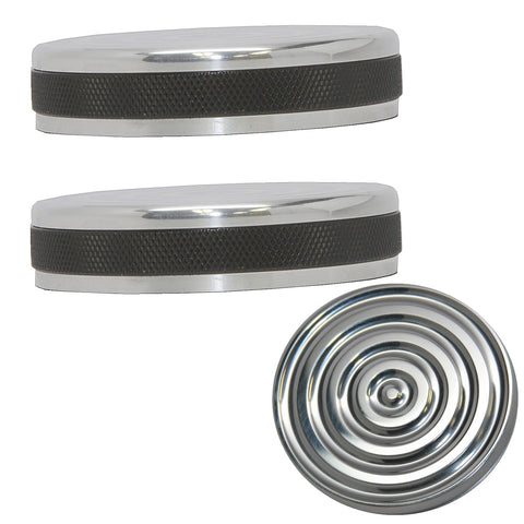 accent machined bayonet bullseye gas cap set for harley davidson years 1973-1982