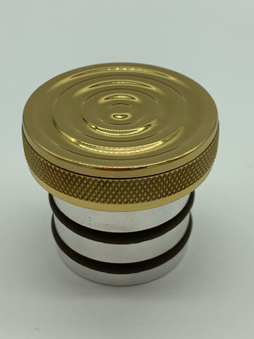 "Speed Dealer Customs Oil Cap Brass Bullseye Series - Harley 2000-17 for 1-3/8"" Tube ID-DISCOUNTED"