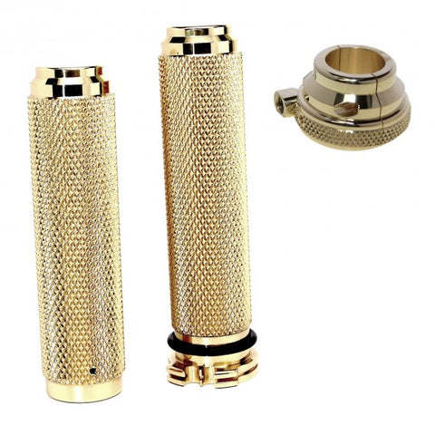 "Motorcycle Solid Brass 7/8"" Hand Grips with Throttle Housing Metric Combo"