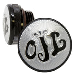 black oil letters motorcycle oil cap for custom choppers 1-5/16 inch