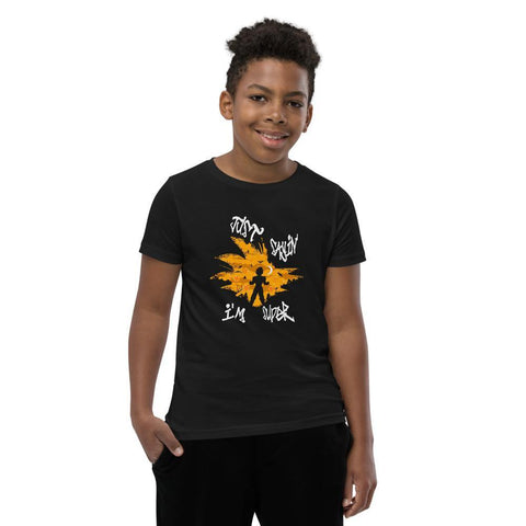 Youth short sleeve black t-shirt with the graphics of a super sayin on the front with the words Just Sayin I'm Super. Your child will love this tshirt because it lets him feel super and it is stylish and sustainable.