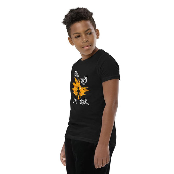 Black t-shirt that has a super sayion design uniquely printed on the front with high quality ink that is eco-friendly and sustainable.