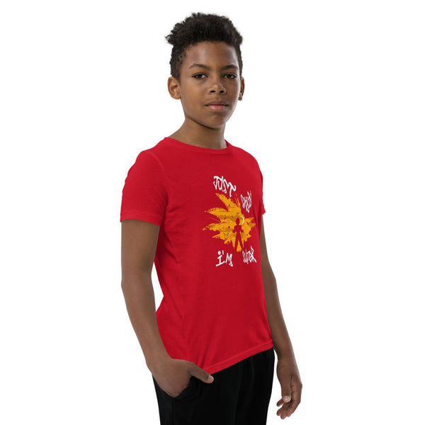 Red T-shirt for boys that has super sayion design on front that is printed on demand when you order for eco-friendly and sustainable purposes.
