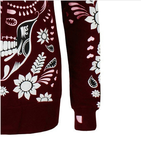 Printed loose slim hooded long-sleeved sweater
