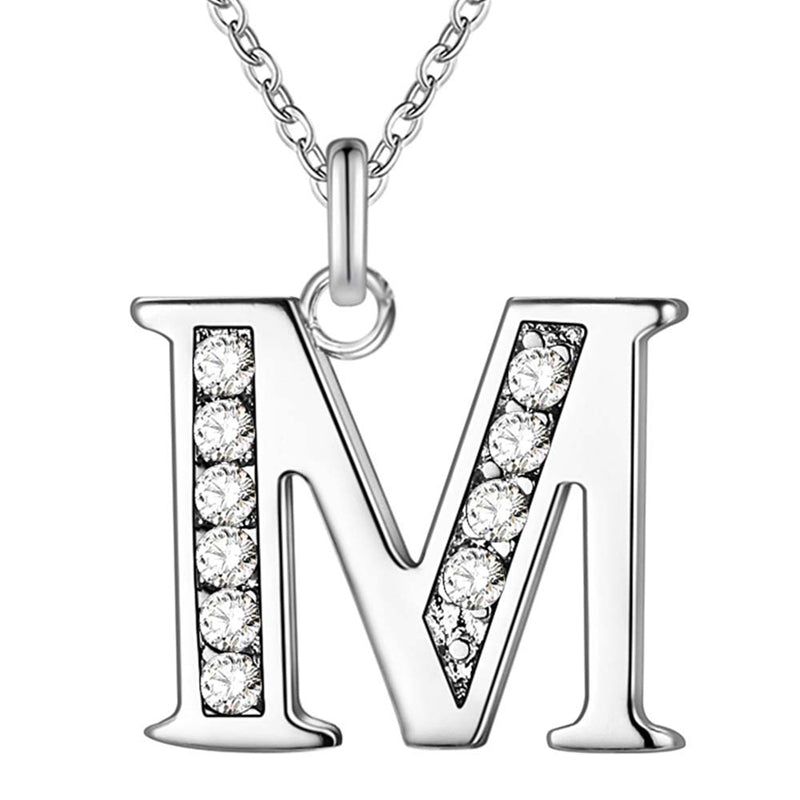 26 Letters A-Z Free Shipping silver plated Necklace Stamp fashion silver jewelry Fashion Pendant best birthday gift