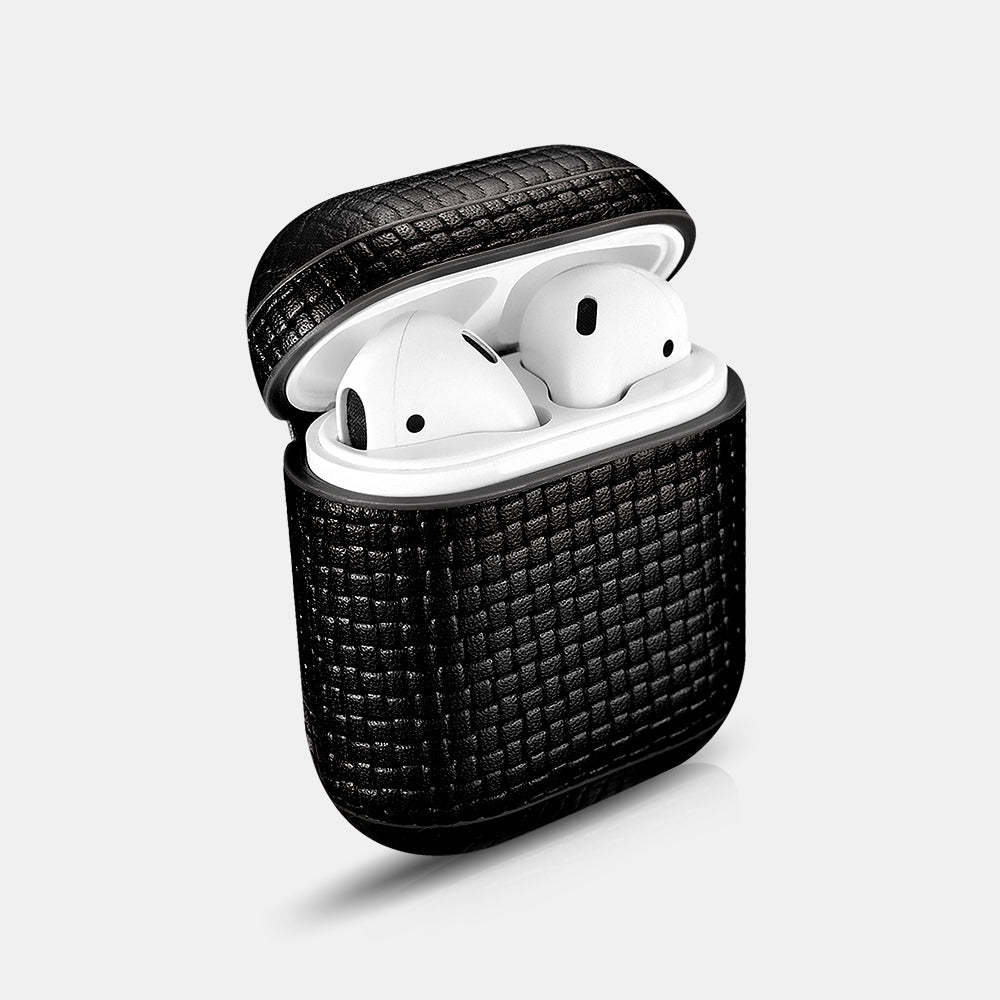 Woven Pattern Real Leather Airpods Protective Case