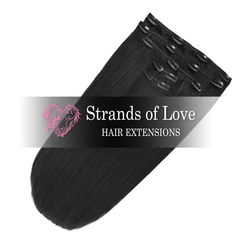 Strands of Love 20 Inch Classic Clip-In Hair Extensions 1 Jet Black