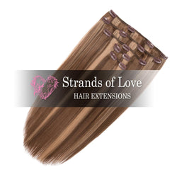 Strands of Love 20 Inch Classic Clip-In Hair Extensions 2-8-20 Caramel Highlight