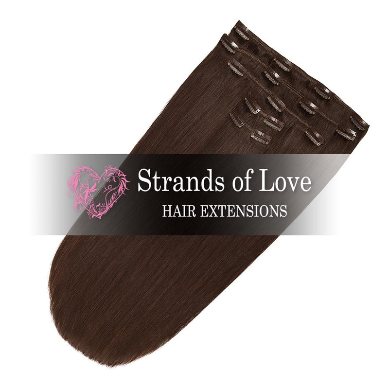 Strands of Love 20 Inch Classic Clip-In Hair Extensions 2 Chocolate Brown