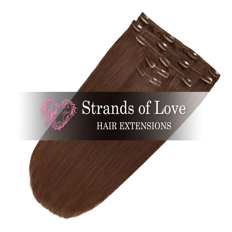 Strands of Love 20 Inch Classic Clip-In Hair Extensions 4 Chestnut Brown