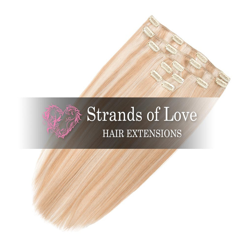 Strands of Love 20 Inch Classic Clip-In Hair Extensions 60/20 Light Vanilla Highlight