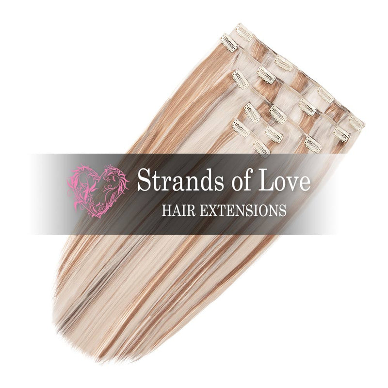 Strands of Love 20 Inch Classic Clip-In Hair Extensions 60/10 Light Warm Highlight