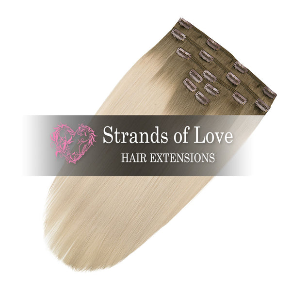 Strands of Love 20 Inch Classic Clip-In Hair Extensions 7-Silver Malibu Ombre