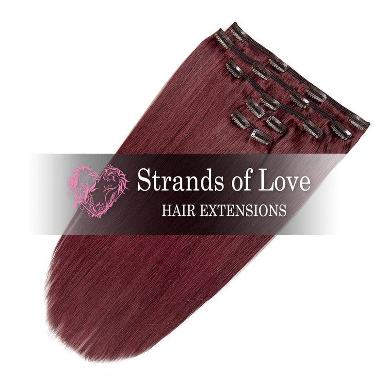 Strands of Love 20 Inch Classic Clip-In Hair Extensions 99J Wine Red