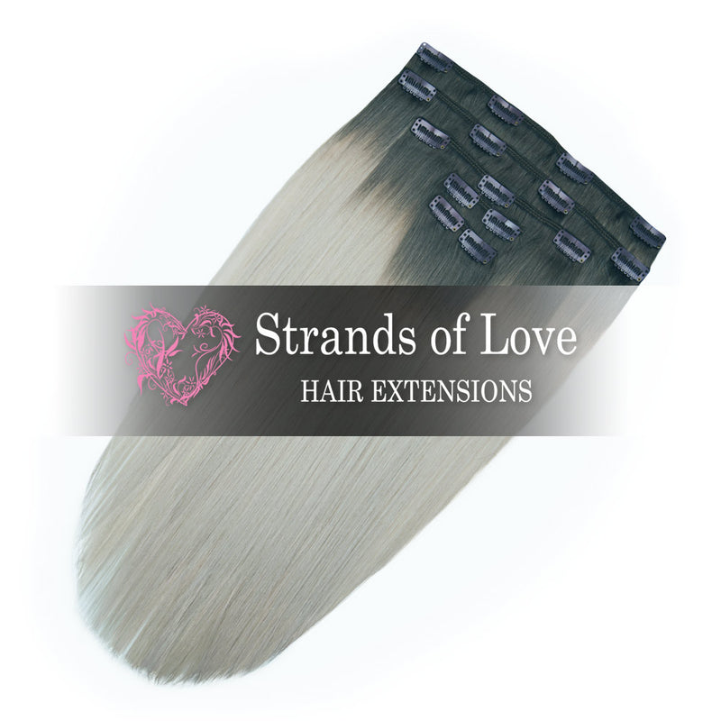 Strands of Love 20 Inch Classic Clip-In Hair Extensions 1-Ice New York Ombre