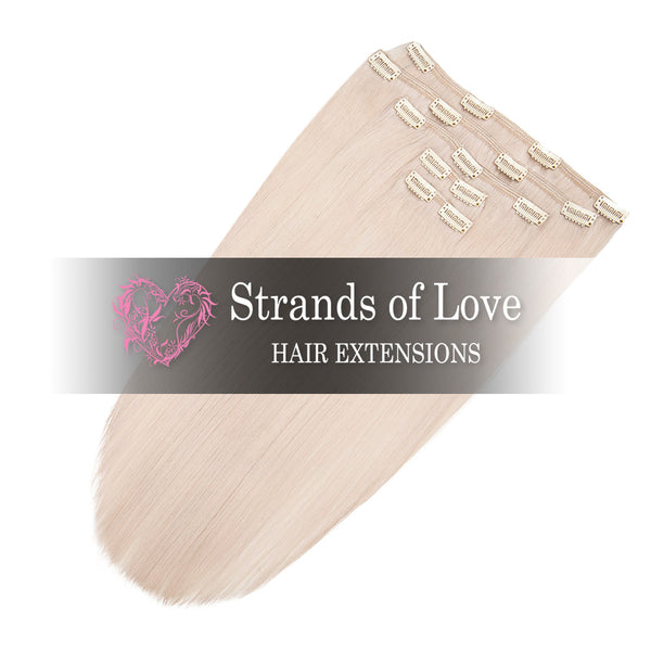 Strands of Love 20 Inch Classic Clip-In Hair Extensions Platinum Blush