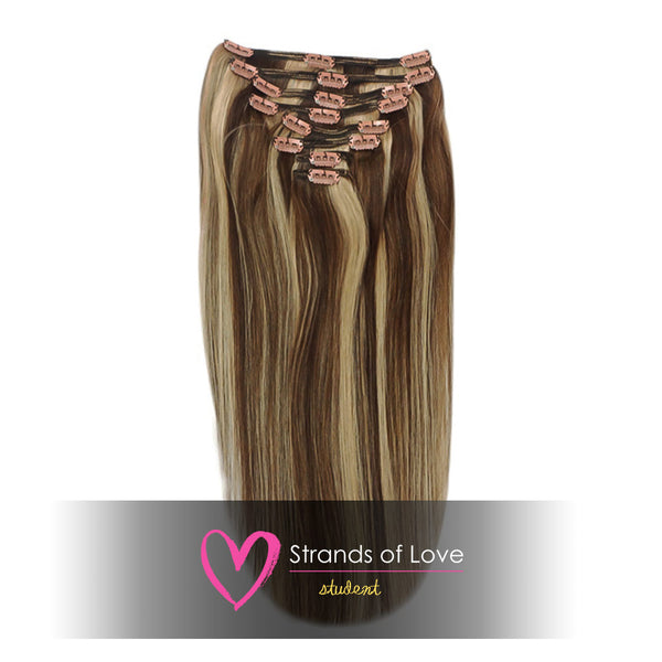 20 Inch Student Clip-In Hair Extensions - Mocha Highlight (#2/20)