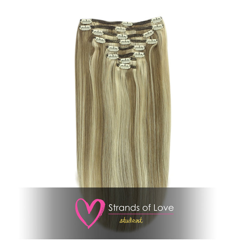 20 Inch Student Clip-In Hair Extensions - Natural Ash Highlight (#9/60)