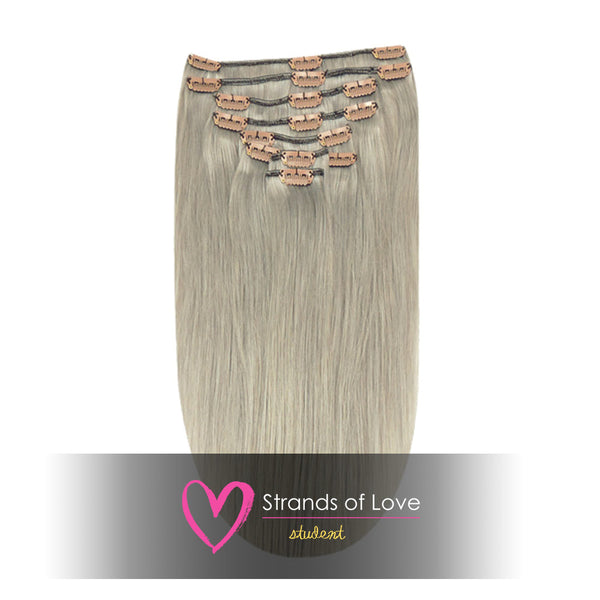 20 Inch Student Clip-In Hair Extensions - Ash Silver