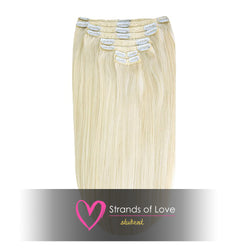 20 Inch Student Clip-In Hair Extensions - Light Gold Blonde