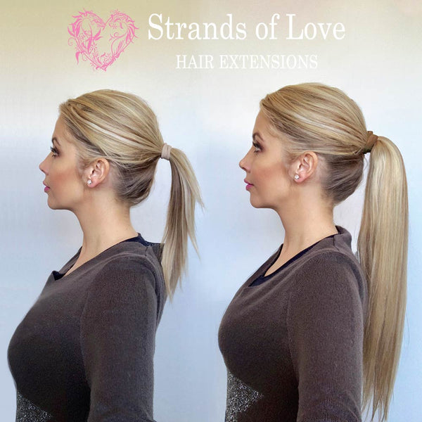 20 Inch Student Wrap-Around Clip-In Ponytail Hair Extensions - Ice Blonde