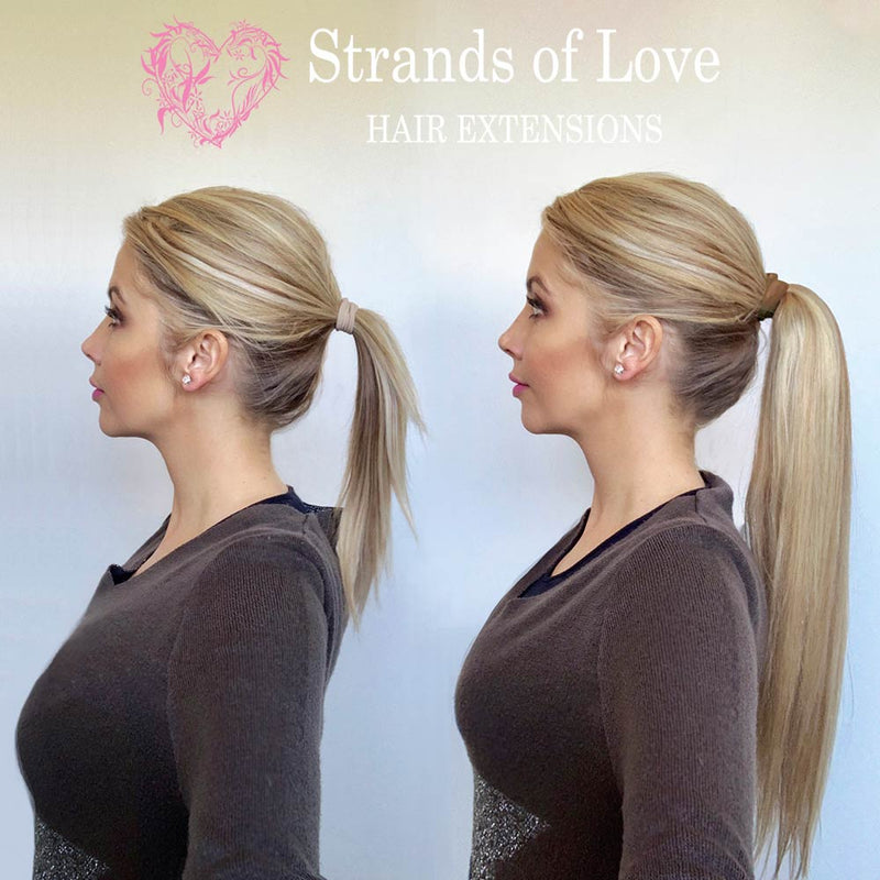 20 Inch Student Wrap-Around Clip-In Ponytail Hair Extensions - Caramel Highlight (#2/8/20)