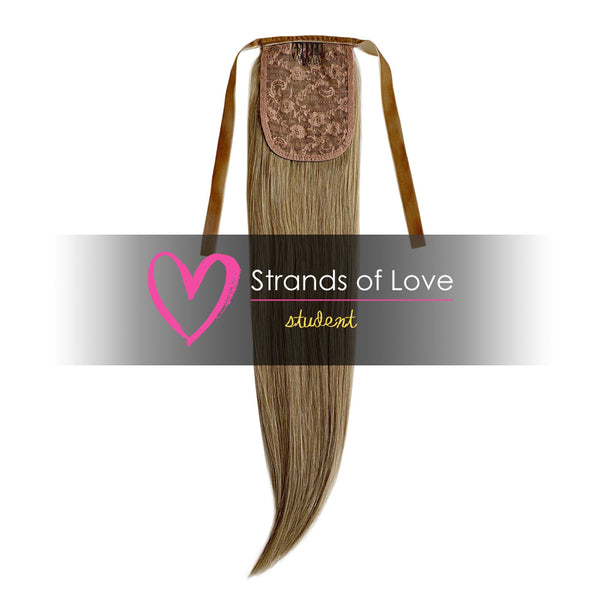 20 Inch Student Wrap-Around Clip-In Ponytail Hair Extensions - Natural Dark Blonde (#10)