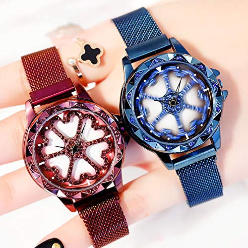 (Best Selling) Women Mesh Magnet Buckle Lucky Flower  Luxury Ladies Rhinestone Quartz Watch
