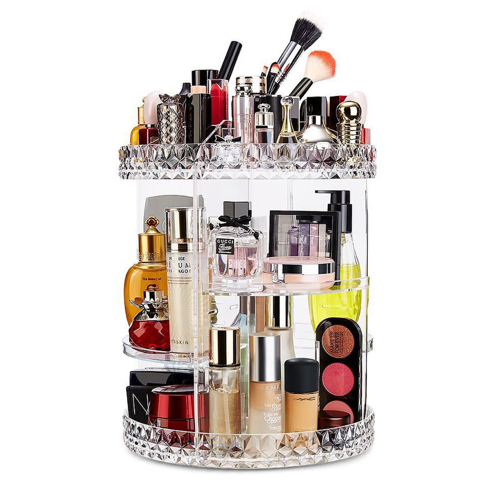 360-Degree Rotating Adjustable Multi-Function Acrylic Makeup Organizer