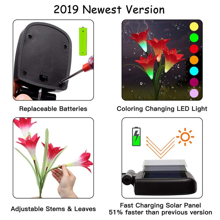 2019 New-Upgraded Artificial Lily Solar Garden Stake Lights (1 Pack of 4 Lilies)