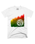 Three Little Birds Tree Line Forest Rasta White Shirt