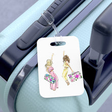 Floral Suitcases (Blonde/Brunette) Luggage Tag