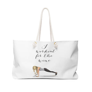 Workout For The Wine (Blonde) Weekender Bag By Melsy's Illustrations