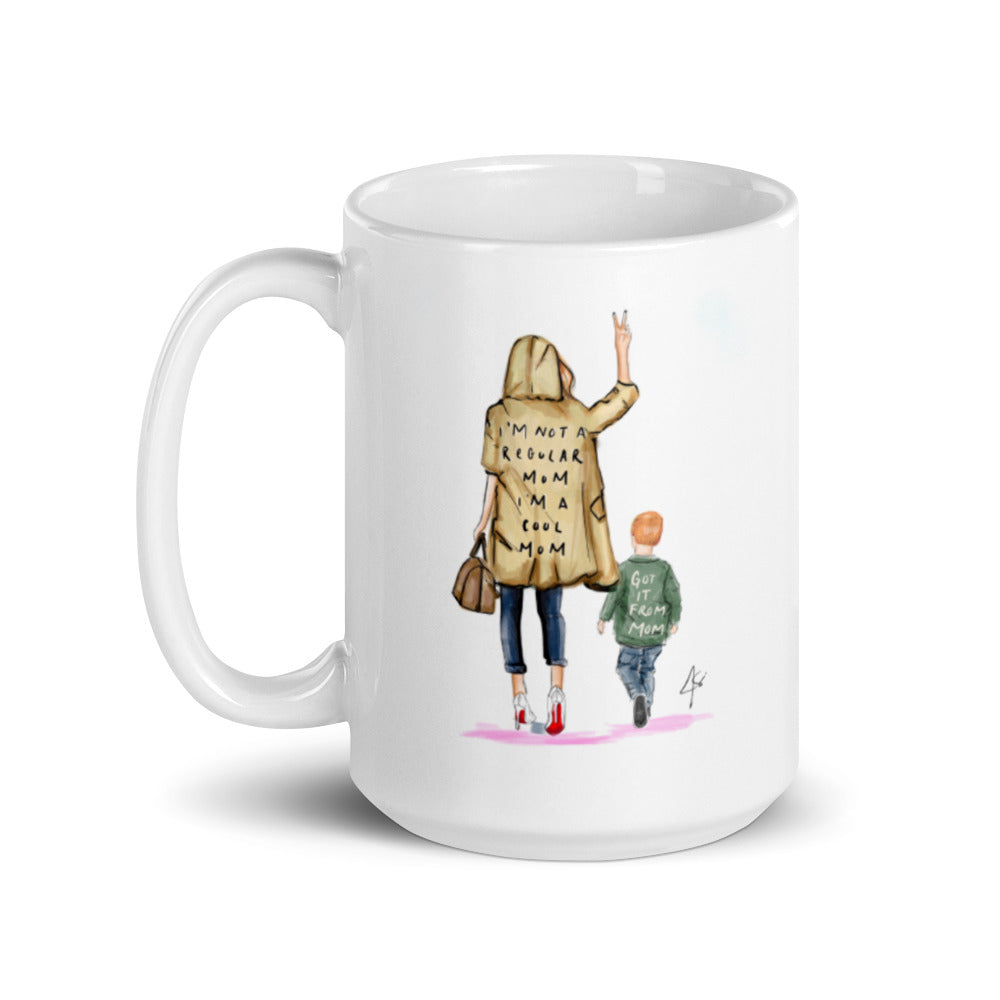 Cool Mom with Little Boy (Reds) Mug