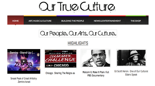 Zemira Israel featured on Our True Culture's Homepage & BLOG