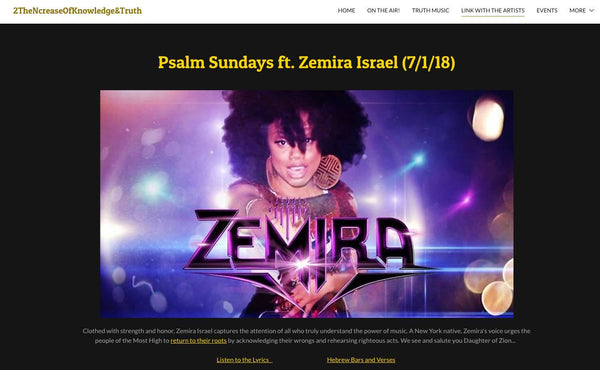 On 2NK&T Online Radio's BLOG, Zemira Israel gets plugged and others are encouraged to link up with her for their Psalm Sunday Online Blog edition