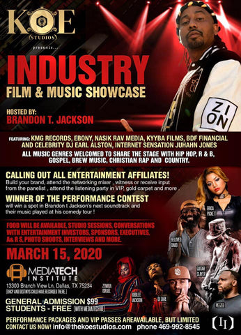 COMEDIAN AND ACTOR BRANDON T JACKSON KOE STUDIOS FILM AND MUSIC INDUSTRY SHOWCASE