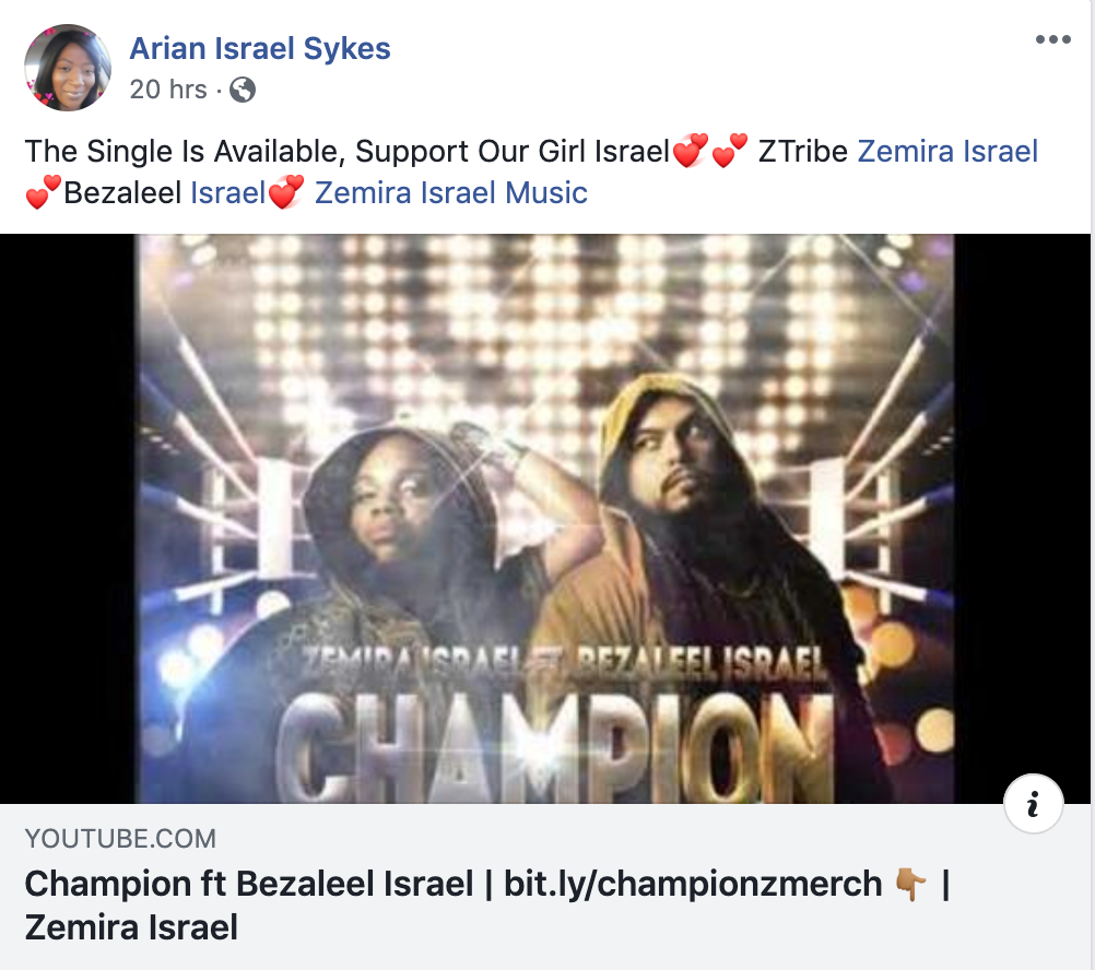 Review on Zemira Israel Champion single from Sis Arian Israel Sykes