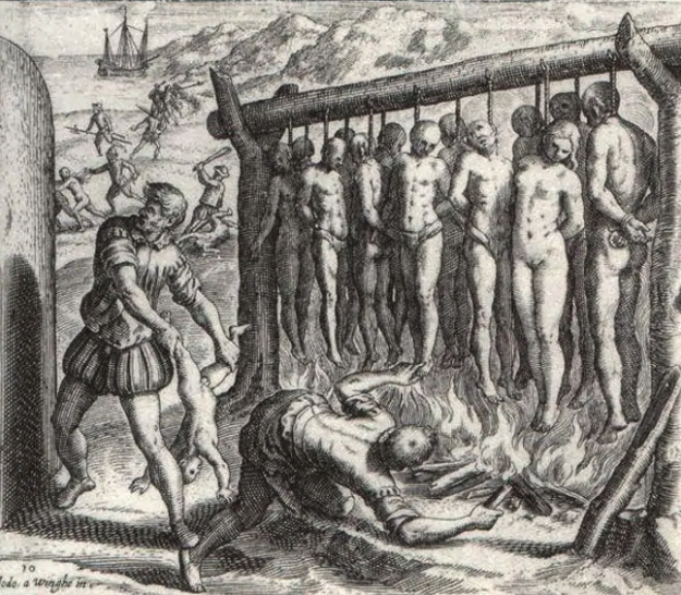 lynching of of Native Indians by the hands of the Spanish conquistadors